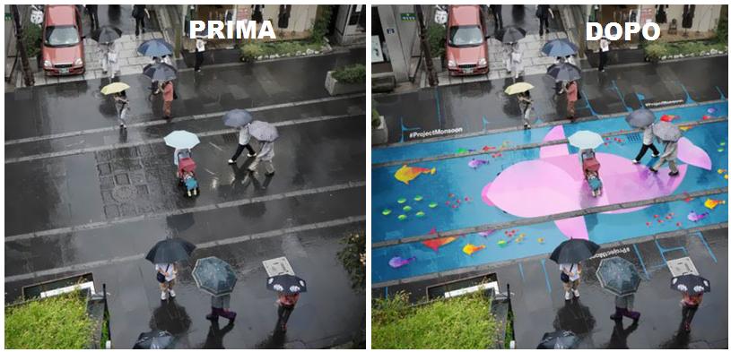 La pioggia rivela la presenza di murales vivacissimi e ispirati alla cultura coreana