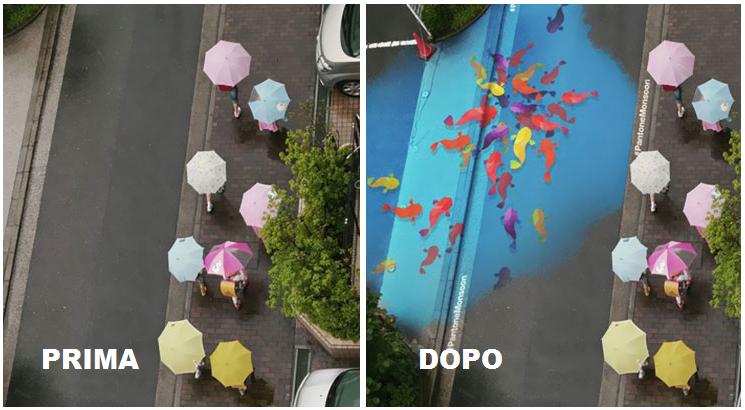 Project Monsoon: la strada diventa un murales quando piove