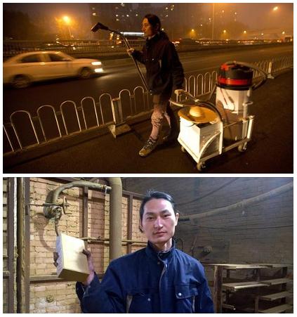 Il cacciatore di smog si trova a Pechino: con l'aspirapolvere raccoglie l'aria inquinata trasformandola in mattoni