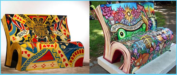 Panchine a forma di libro a Londra