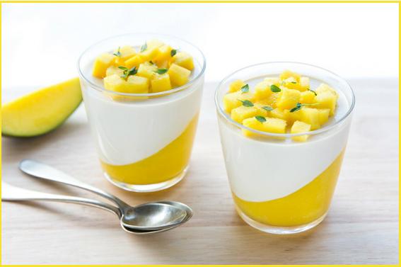 panna cotta con mango
