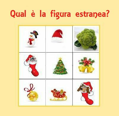 Qual è la figura estranea? Gioco di Natale