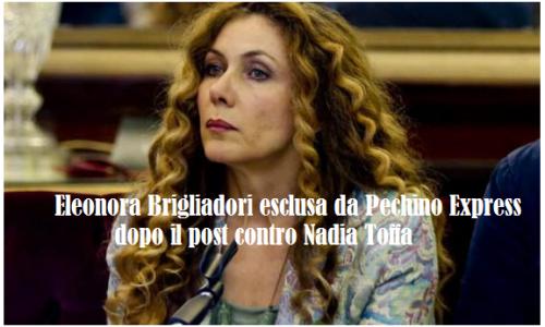 """Eleonora Brigliadori esclusa da """"Pechino Express"""" dopo post  contro Nadia Toffa: """"Chi è causa del suo mal…"""""""