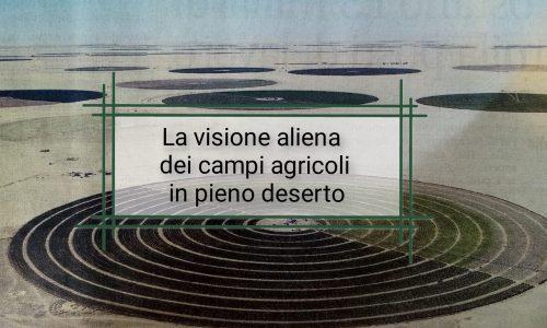 Visione aliena di campi agricoli nel deserto